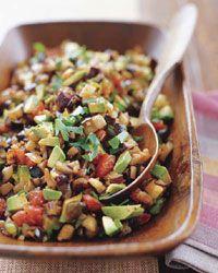 Eggplant Caponata salad (with pine nuts and avocado!)