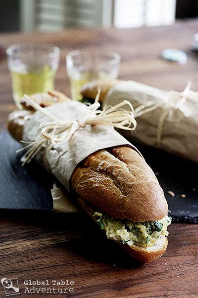 ... : West African Toasted Baguette Sandwich with Spinach Scrambled Eggs
