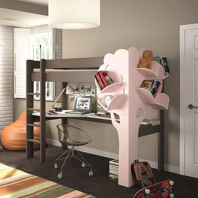 Fancy - Kids High Sleeper Bed with Tree Bookcase
