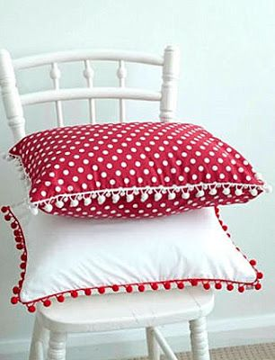 Red and white pillows with pom pom trim - Cute Canada Day decoration (but universal enough not to be used only 1 day/ year)