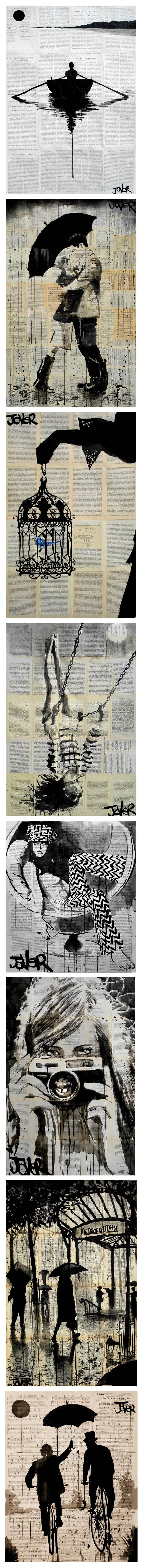 Art by Loui Jover - In Saatchi Online  I love the newspaper and sheet music used in the backgrounds!