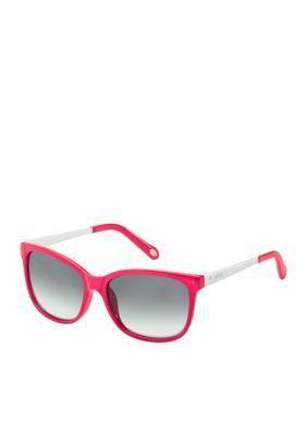 Fossil Pink Crystal Plastic Anne Hall Sunglasses