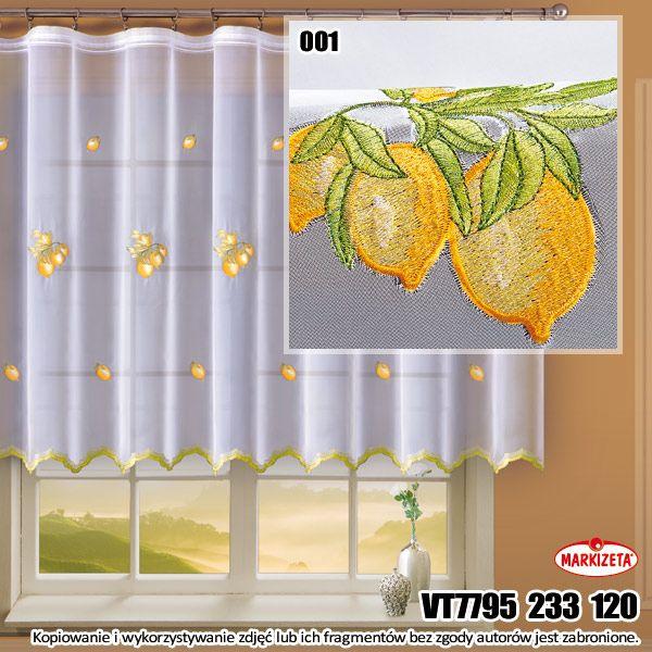 #Firanka_haftowana VT7795 / wysokość 120cm/ kolor biały Delikatna firanka uszyta z woalu gładkiego. Na białym tle wyhaftowano żółte cytryny. Ten haft sprawia, że firanka idealnie pasuje do kuchennego okna. Przepuszcza powietrze i światło a jednocześnie chroni przed wzrokiem ciekawskich.  wysokość: 120 cm kolor: biały  materiał: woal gładki kasandra.com.pl