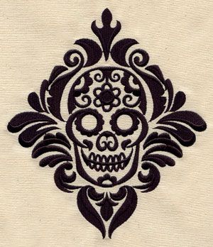 Damask Calavera   Urban Threads: Unique and Awesome Embroidery Designs
