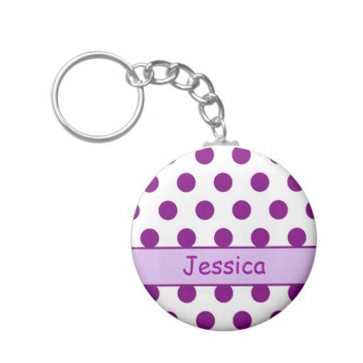 Purple Polka Dots - Name Keychain