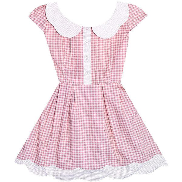 Bonne Chance Collections Strawberry Lemonade Dress ($47) ❤ liked on Polyvore featuring dresses, bonne chance, pink, gingham, gingham dress, pink dress and pink gingham dress