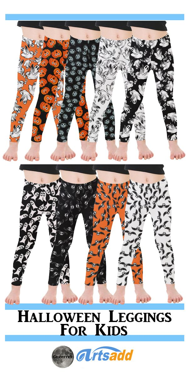 Cute Halloween Leggings for kids! Ghosts, Bats and Pumpkins designed for Trick-or-Treating at Artsadd! by #Gravityx9 Designs