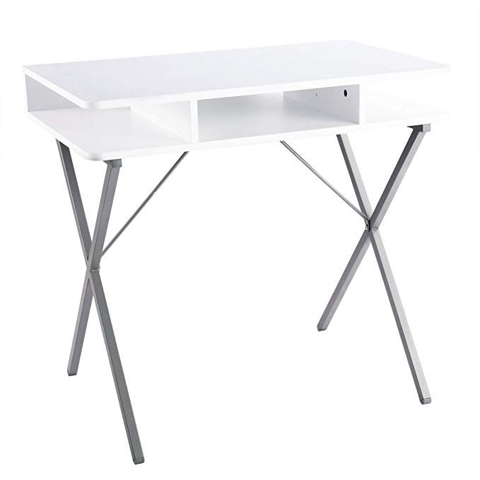 Fivegiven Small White Computer Desk Modern Writing Desk With Storage For Home Office Review Modern Computer Desk Writing Desk Modern White Computer Desk