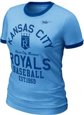 Kansas City Royals Women's Nike Light Blue Cooperstown Ringer T-Shirt