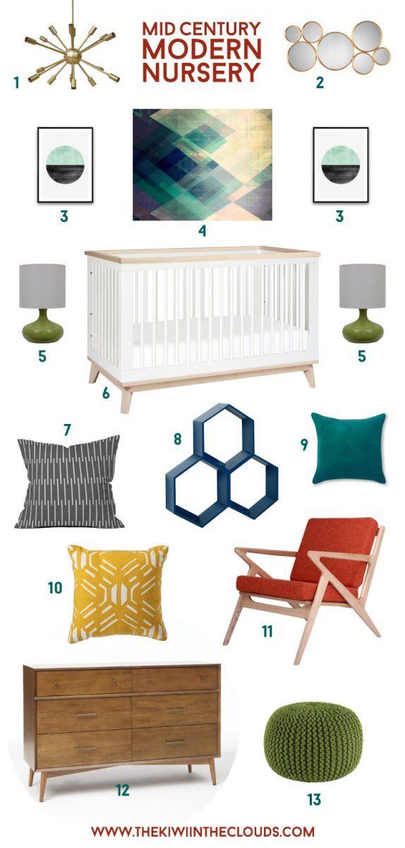 """What a breath of fresh air this mid century modern nursery is! It has that fabulously retro feel and it's totally gender neutral too. But what I love most it that the design can grow with your baby and be used for years without looking too """"baby like""""."""