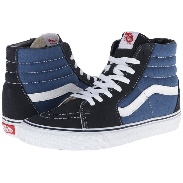 Vans SK8-Hi Core Classics (Navy) Shoes ($65) ❤ liked on Polyvore featuring shoes, sneakers, print sneakers, vans trainers, vans footwear, vans sneakers and navy blue sneakers