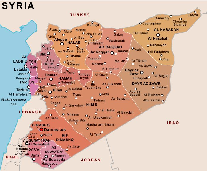 Map of division in Syria as of March 20 2012 Maps of the Middle