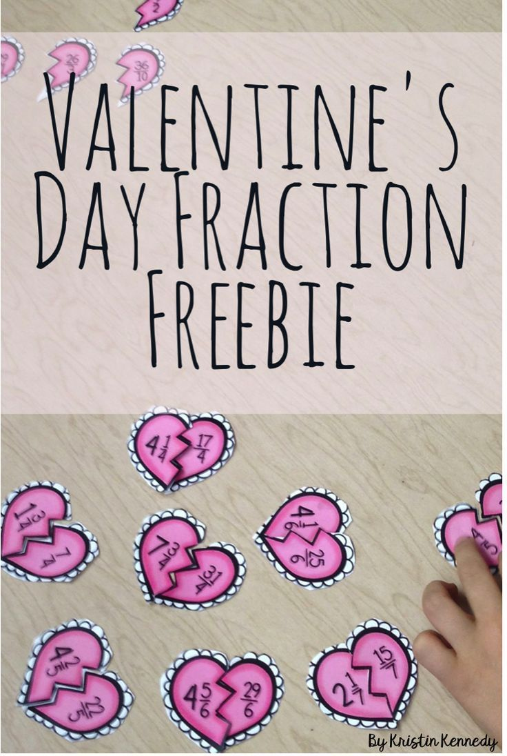 FREE Valentine's Day improper fractions & mixed numbers heart match-up activity. Fun, hands on, and perfect for 4th and 5th grade math centers and small groups.
