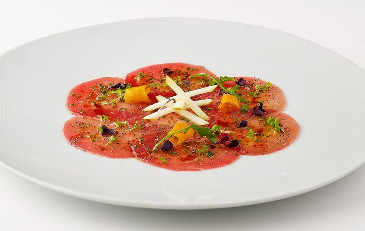 Tuna Carpaccio by Nikos Zervos at the Belvedere Club Restaurant, Mykonos