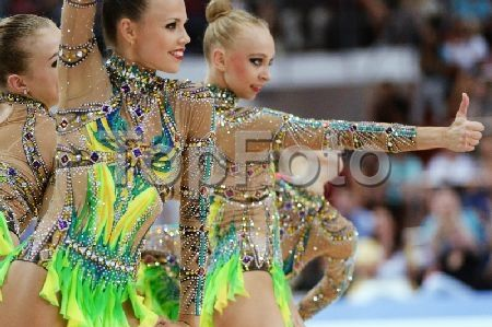 2246104 Russia, Kazan. 07/16/2013 Russian athletes perform the clubs routine during the finals of the rhythmic gymnastics group apparatus competition at the 27th World University Summer Games in Kazan. Vladimir Vyatkin/RIA Novosti