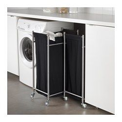 IKEA - GRUNDTAL, Laundry bin with casters, The laundry bag does not absorb moisture or odors from the laundry because it is made of polyester.Easy to  move – casters included.Easy to keep clean since you can remove the laundry bag and wash it in the washing machine.You can put GRUNDTAL laundry bag with casters together with GRUNDTAL cart as they have the same measurements.