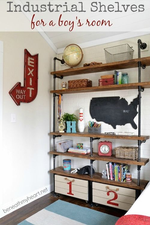 amazing industrial shelves for a boys room fabulous diy project boys bedroom furniture ideas