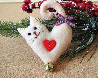Cat Christmas tree ornament, cat felt decoration, felt Christmas decoration, cat…