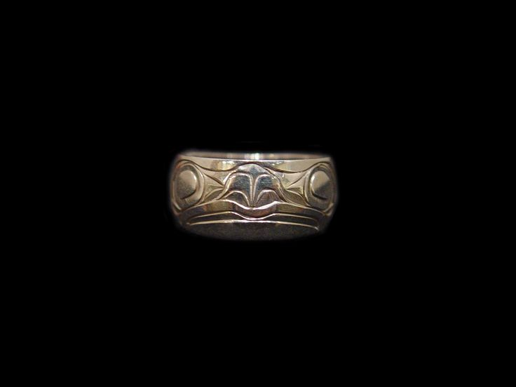 Frog Ring, Sheldon Williams, Heiltsuk. Hand carved sterling silver, (thiner gage), 0.38""