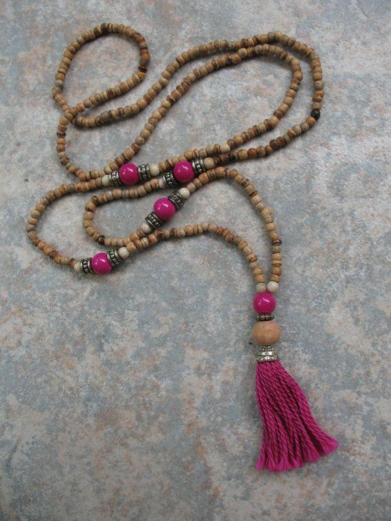 Mala Style Long Beaded Tassel Necklace