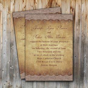 Best 25+ Burlap wedding invitations ideas on Pinterest   Rustic ...