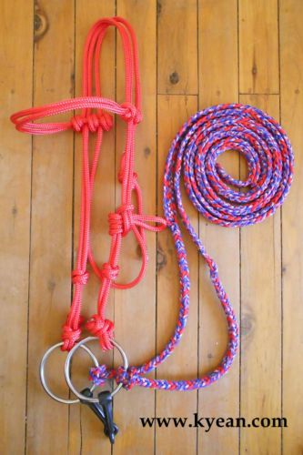 Rope Bridle 6ft Braided Split Reins RED White Blue Brand NEW COB Full | eBay