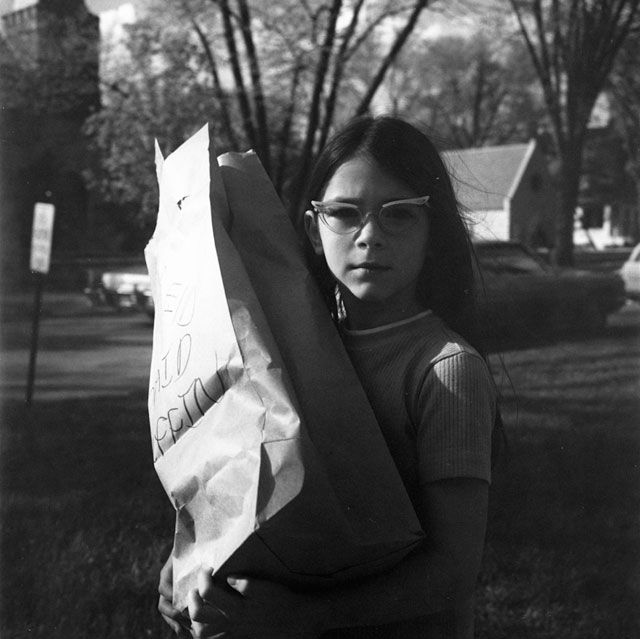 "Vivian Maier, ""Girl Holding Bag"" (late 1960s) (all images from and courtesy the Jeffrey Goldstein Collection)"