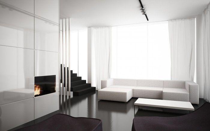 Projektowanie wnętrz Kraków - dom jednorodzinny. Styli nowoczesny i minimalistyczny. Dom pokazowy.