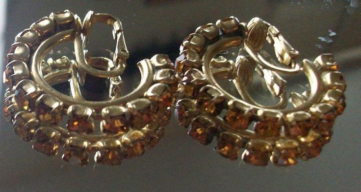 AMAZING  Vintage Gold Tone Topaz Colored Clip On Rhinestone Hoop Earrings   SALE $15   FOUND on eBay