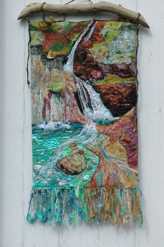 Simply gorgeous! Wall Hanging. Textile Art Waterfall. Fantasy by FabricsofNature