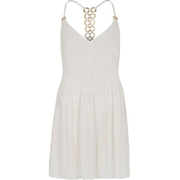 River Island White ring back beach swing dress ($50) ❤ liked on Polyvore featuring dresses, slip / cami dresses, white, women, white cami, white swing dress, racerback cami, white v neck cami and white dresses