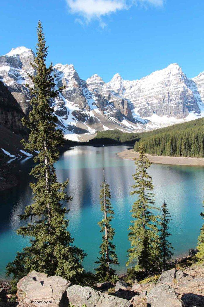 6 most beautiful lakes in Banff NP, Alberta, Canada. Lake Moraine- Map of Joy