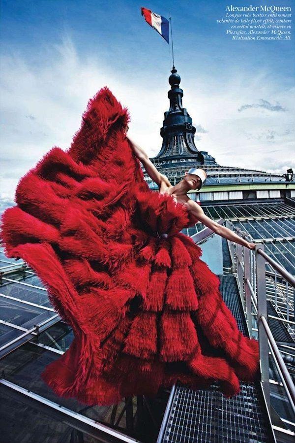 'Paris Mon Amour' by Mario Sorrenti for Vogue Paris August 2012. Alexander McQueen gown