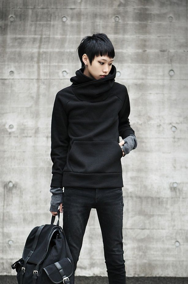 Neo Punk Fashion  That jumper is actually a hoodie ... with a hood.  Super cool <3