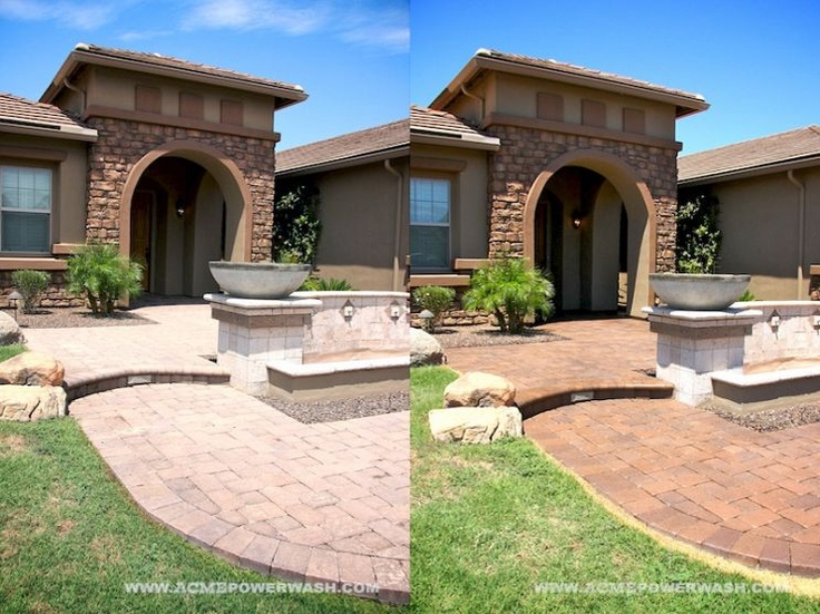 Before and after of a paver clean and seal project in Phoenix, AZ.  http://www.phoenixpaversealing.com