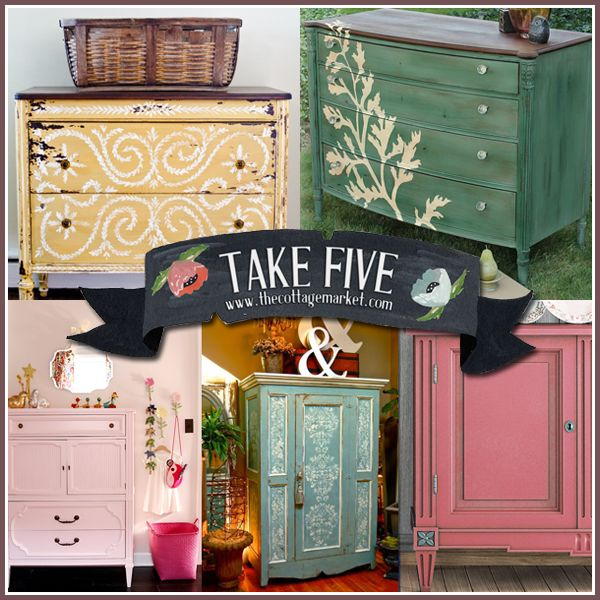 I am SO wanting to repaint every piece of furniture in my house right now!!  Take Five:  Beautiful Painted Furniture