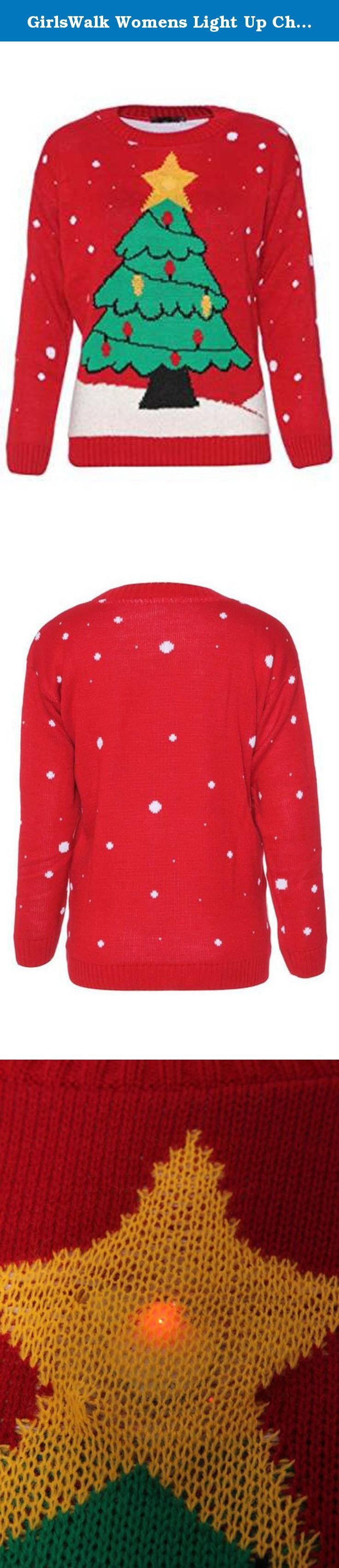 "GirlsWalk Womens Light Up Christmas Tree Jumper. Womens Light Up Christmas Tree Jumper, 100% Acrylic, Incredibly soft and warm Material, Approximate Length: 28"", Unisex Novelty Knitted Christmas Jumper, Machine Washable,."
