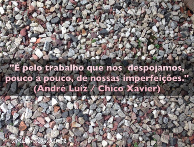 """""""É pelo trabalho que nos  despojamos, pouco a pouco, de nossas imperfeições."""" (André Luíz / Chico Xavier)  Do Livro: Entre a Terra e o Céu"""