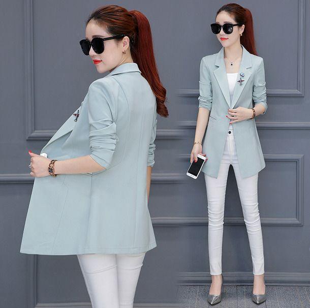 Women Casual Fashion Version Long Sleeve Slim Fit Casual Suit Jacket Blazer Coat
