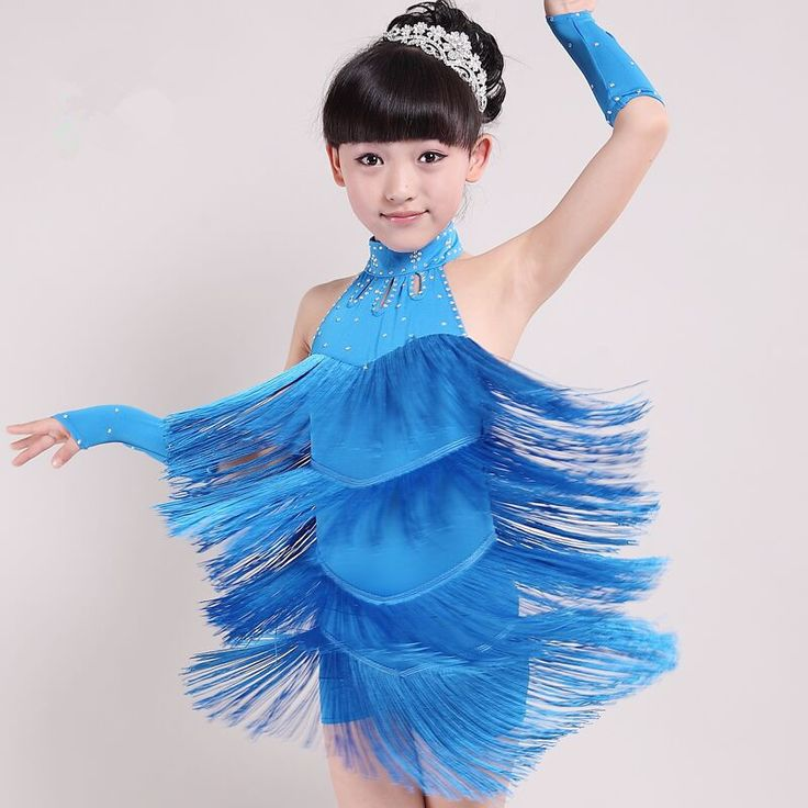 Latin Dance Dress Children Hand Sewing Stone Tassel Girls Dance Kids Ballroom Dance Competition Rumba/Cha Cha/Tango Dresses 39$