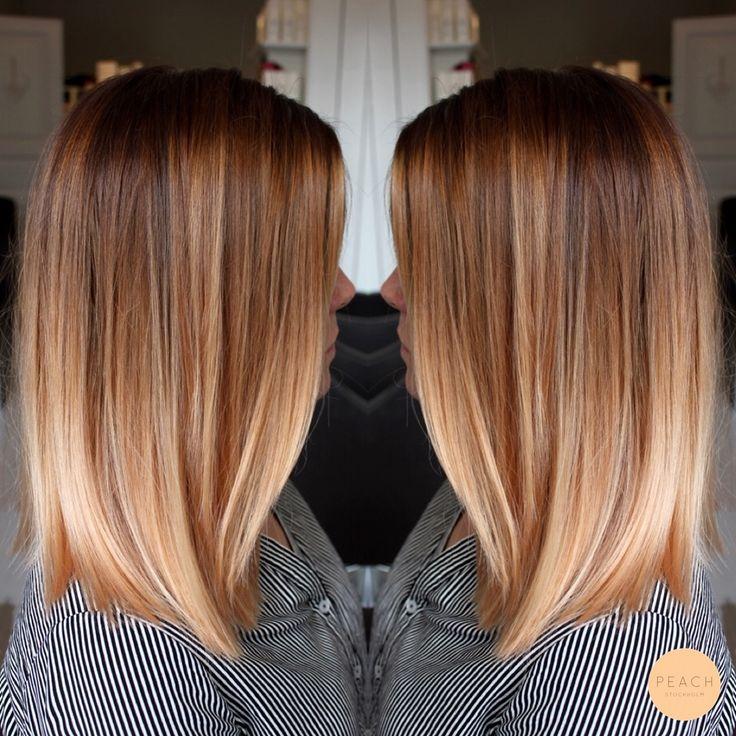 Lob hår med soft ombre i kopparblond / roséblond nyans