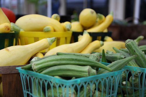 fresh squash at the DeVille Street Farmers Market