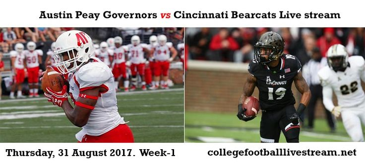 Teams: Governors vs Bearcats Time: TBA Date: Thursday, 31 August 2017 Location: Nippert Stadium, Cincinnati, OH TV: ESPN Click Here To Watch College Football Live Streaming Online [Free] Click Here To Watch College Football Live Streaming Online [Paid] The Austin Peay Governors is an...