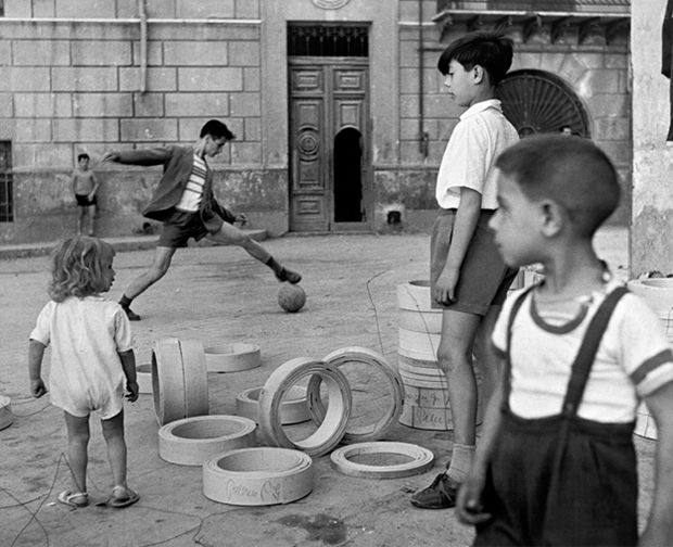 Italian Vintage Photograph of children playing in the streets  ~ Herbert List  Naples, Italy.