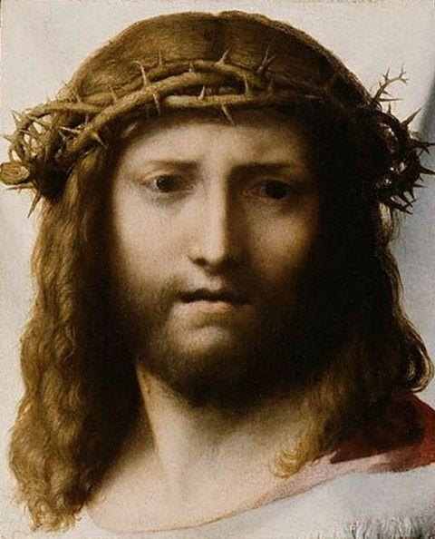 """Volto di Cristo - Antonio Allegri detto il Correggio - 1520 ca """"My Jesus, I would rather not exist than make You sad."""" - St. Faustina"""