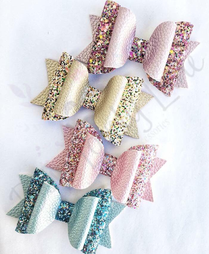 2.5 Inch Sparkling Glitter Pink Blue Silver Hair Bow Bobble//Alligator Clip Girl