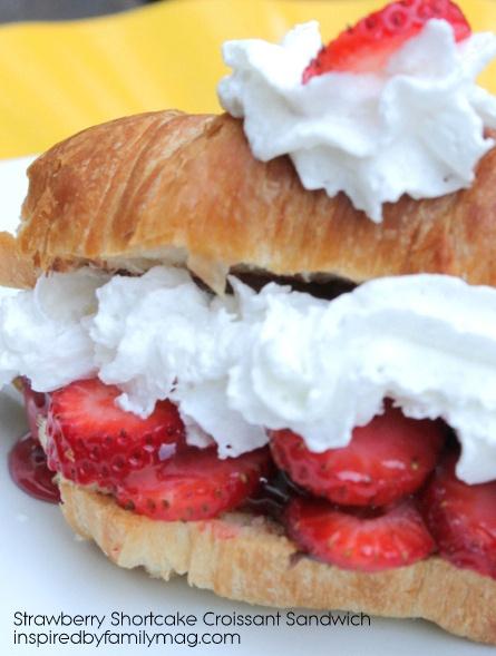Easy Strawberry Shortcake Croissant Sandwich