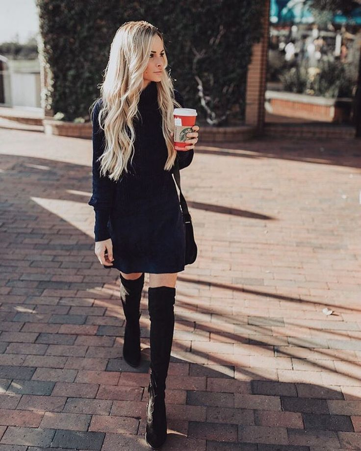 Black dress and black suede over the knee boots