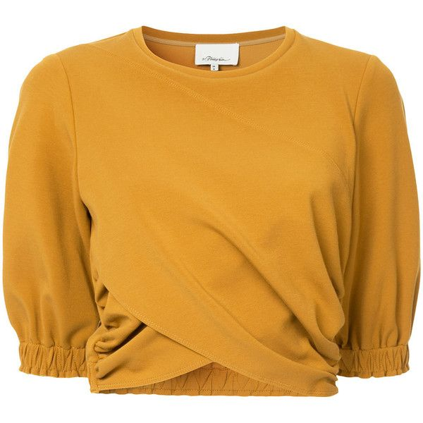 3.1 Phillip Lim Crop twist-front top ($480) ❤ liked on Polyvore featuring tops, brown, brown top, mustard top, asymmetric tops, short sleeve shirts and brown shirts