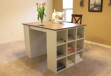 DIY Build your own craft room desk: Crafts Desks, Sewing Tables, Diy Craft, Crafts Tables, Crafts Rooms Desks, Sewing Rooms, Pottery Barns, Cut Tables, Diy Building